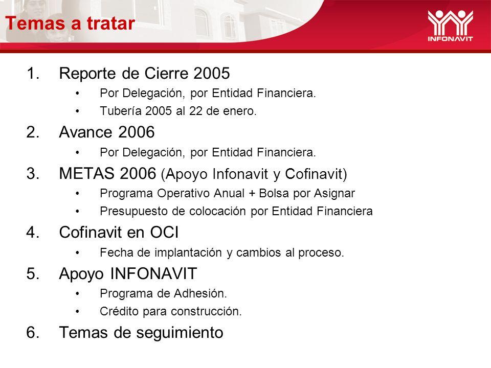 Temas a tratar 1.Reporte de Cierre 2005 Por Delegación, por Entidad Financiera. Tubería 2005 al 22 de enero. 2.Avance 2006 Por Delegación, por Entidad