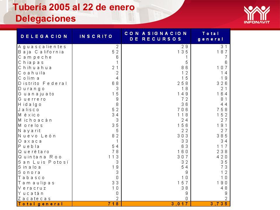 Tubería 2005 al 22 de enero Delegaciones