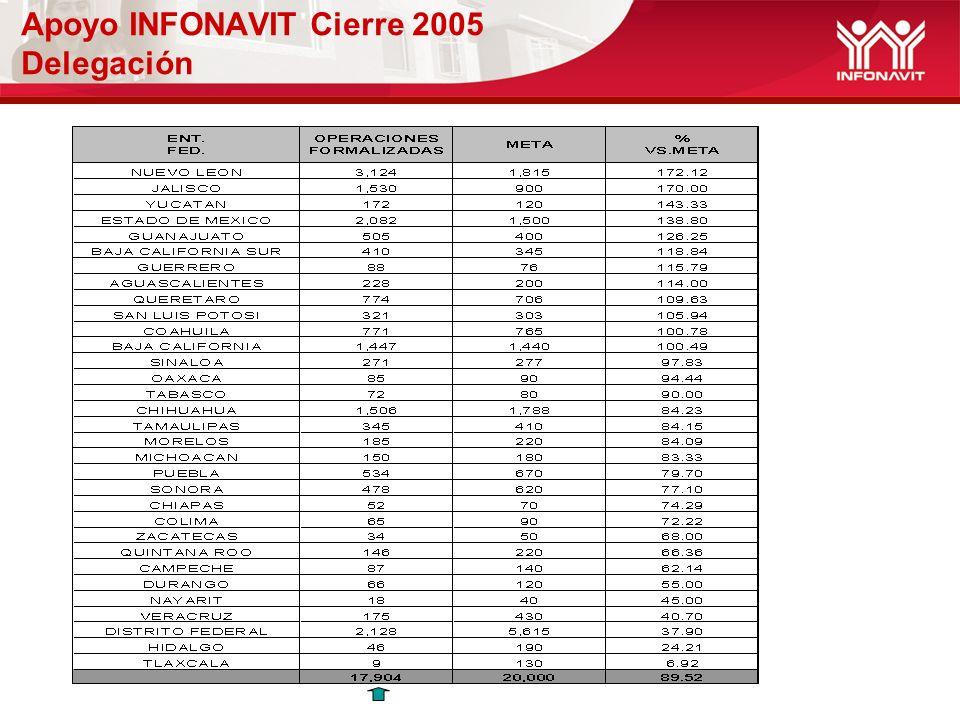 Apoyo INFONAVIT Cierre 2005 Delegación