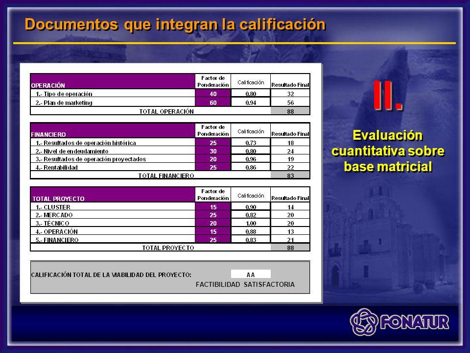 II.II. Evaluación cuantitativa sobre base matricial FACTIBILIDAD SATISFACTORIA