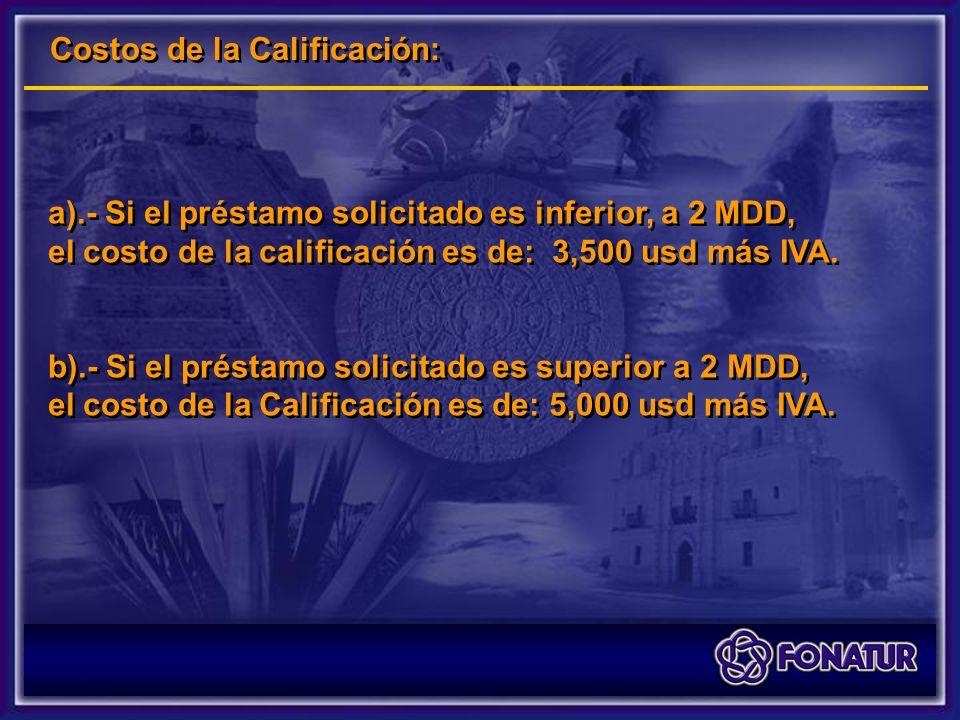 Costos de la Calificación: a).- Si el préstamo solicitado es inferior, a 2 MDD, el costo de la calificación es de: 3,500 usd más IVA.