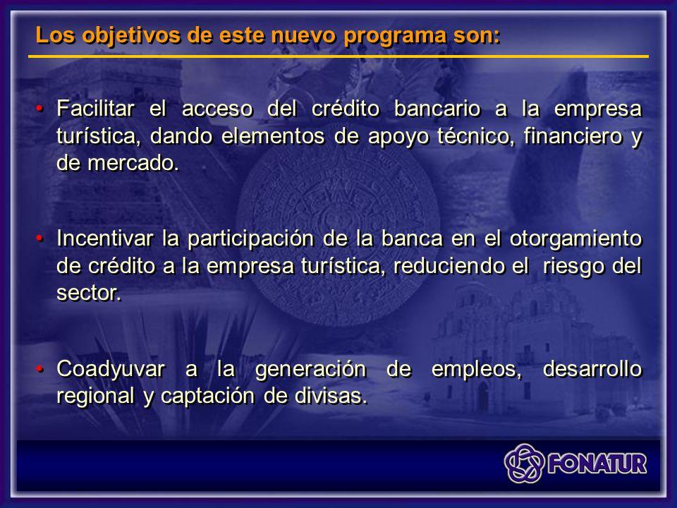 Facilitar el acceso del crédito bancario a la empresa turística, dando elementos de apoyo técnico, financiero y de mercado.