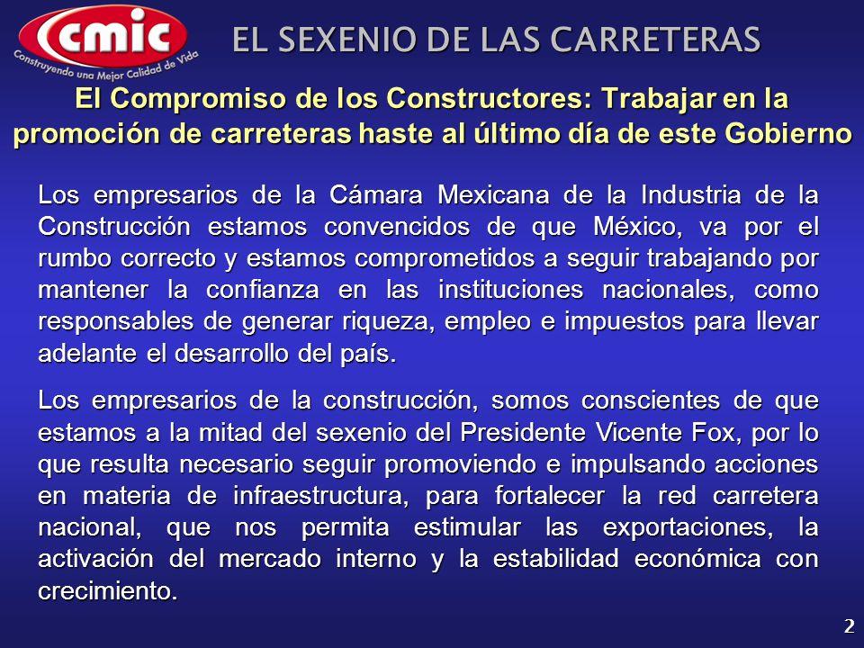 EL SEXENIO DE LAS CARRETERAS 2 El Compromiso de los Constructores: Trabajar en la promoción de carreteras haste al último día de este Gobierno Los emp