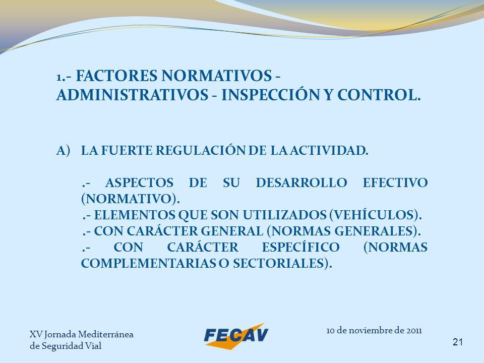 XV Jornada Mediterránea de Seguridad Vial 21 10 de noviembre de 2011 1.- FACTORES NORMATIVOS - ADMINISTRATIVOS - INSPECCIÓN Y CONTROL. A)LA FUERTE REG