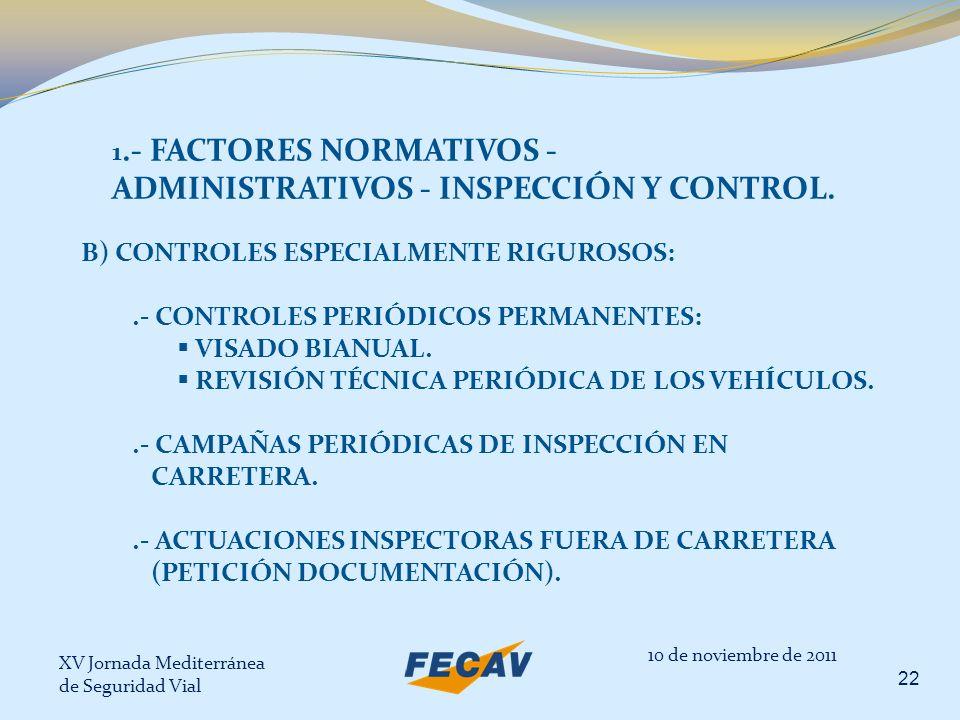 XV Jornada Mediterránea de Seguridad Vial 22 10 de noviembre de 2011 1.- FACTORES NORMATIVOS - ADMINISTRATIVOS - INSPECCIÓN Y CONTROL. B) CONTROLES ES