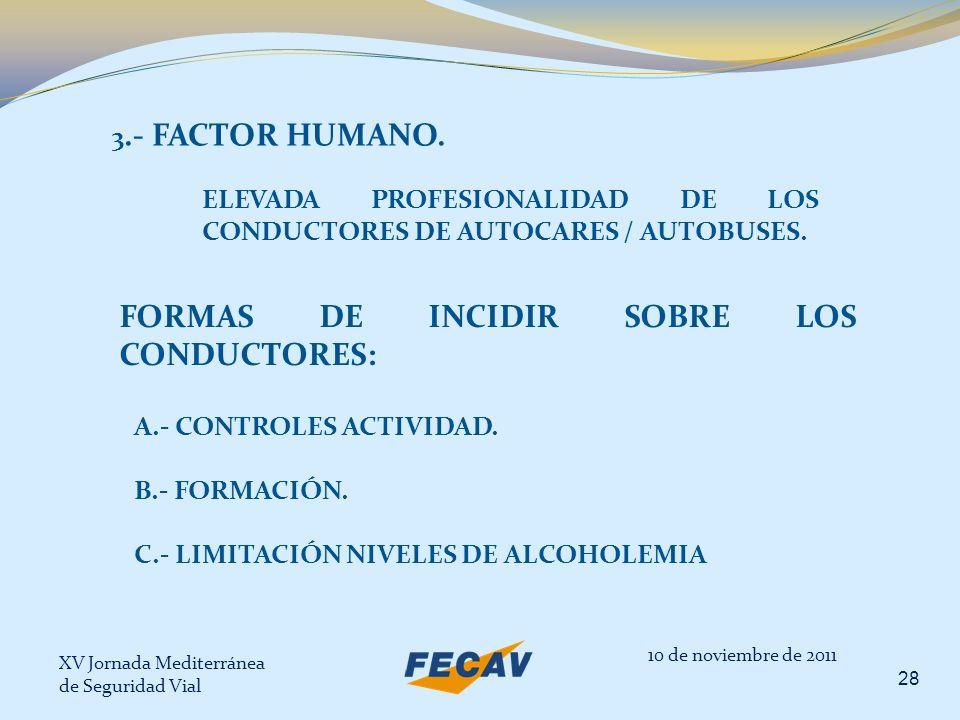XV Jornada Mediterránea de Seguridad Vial 28 10 de noviembre de 2011 3.- FACTOR HUMANO. ELEVADA PROFESIONALIDAD DE LOS CONDUCTORES DE AUTOCARES / AUTO