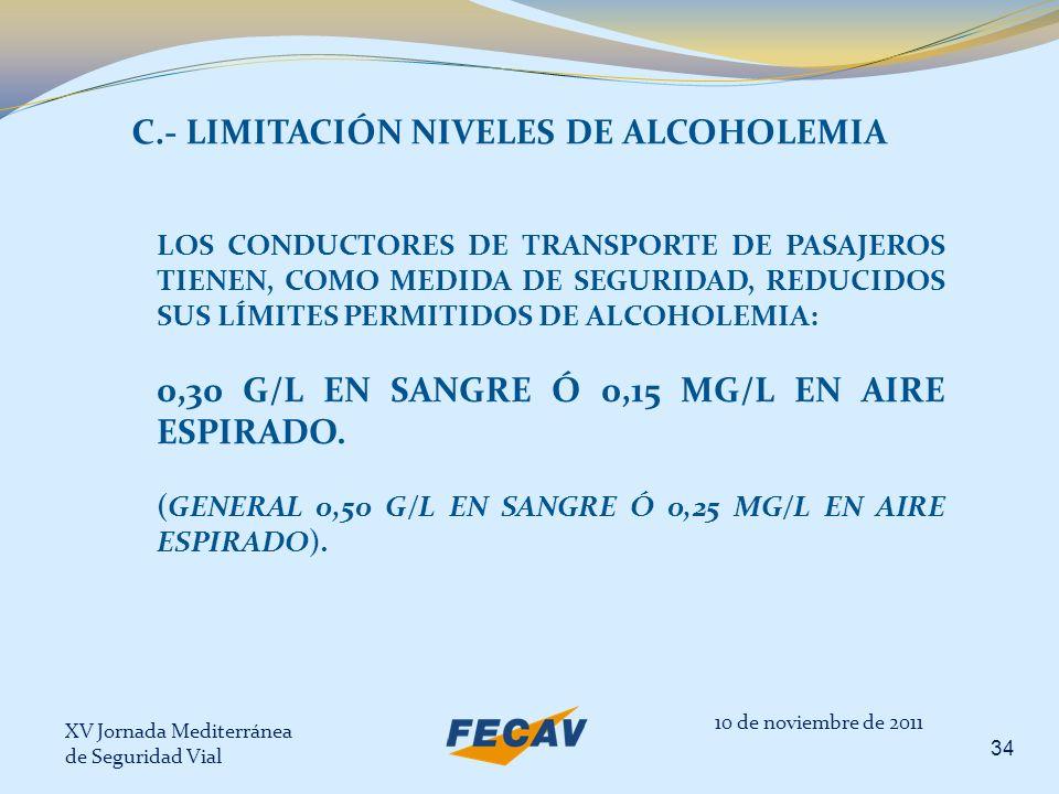 XV Jornada Mediterránea de Seguridad Vial 34 10 de noviembre de 2011 C.- LIMITACIÓN NIVELES DE ALCOHOLEMIA LOS CONDUCTORES DE TRANSPORTE DE PASAJEROS