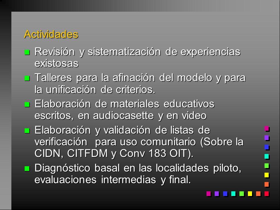 Actividades n Revisión y sistematización de experiencias existosas n Talleres para la afinación del modelo y para la unificación de criterios.
