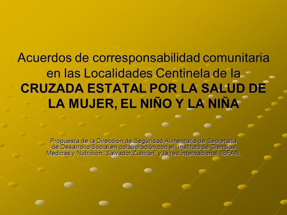Acuerdos de corresponsabilidad comunitaria en las Localidades Centinela de la CRUZADA ESTATAL POR LA SALUD DE LA MUJER, EL NIÑO Y LA NIÑA Propuesta de