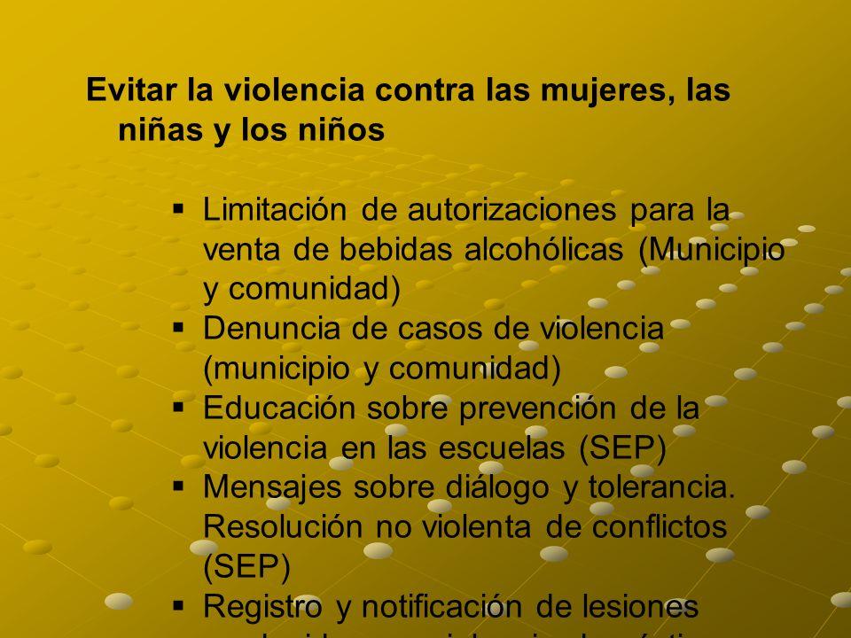 Evitar la violencia contra las mujeres, las niñas y los niños Limitación de autorizaciones para la venta de bebidas alcohólicas (Municipio y comunidad