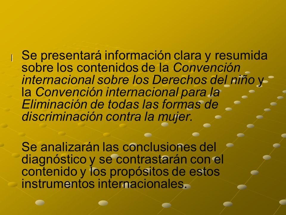 | | Se presentará información clara y resumida sobre los contenidos de la Convención internacional sobre los Derechos del niño y la Convención interna