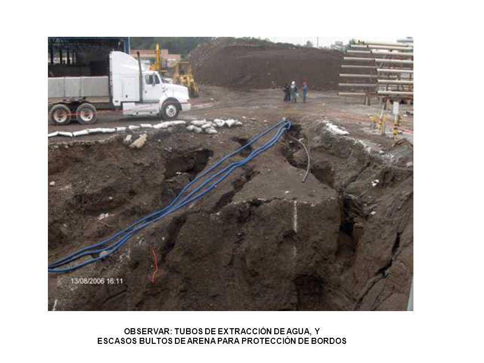 OBSERVAR: TUBOS DE EXTRACCIÓN DE AGUA, Y ESCASOS BULTOS DE ARENA PARA PROTECCIÓN DE BORDOS