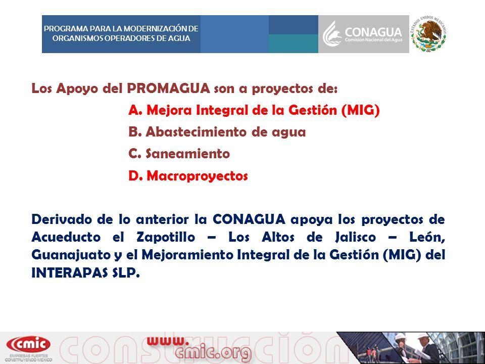 Los Apoyo del PROMAGUA son a proyectos de: A. Mejora Integral de la Gestión (MIG) B. Abastecimiento de agua C. Saneamiento D. Macroproyectos Derivado