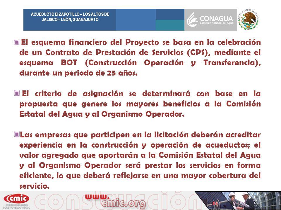 El esquema financiero del Proyecto se basa en la celebración de un Contrato de Prestación de Servicios (CPS), mediante el esquema BOT (Construcción Op