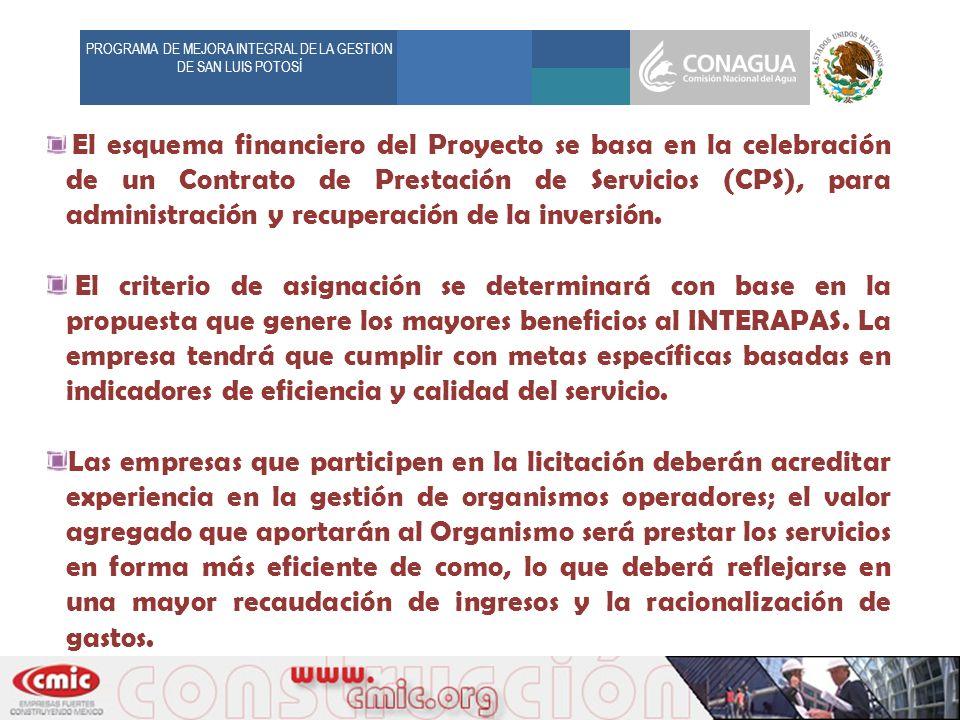 PROGRAMA DE MEJORA INTEGRAL DE LA GESTION DE SAN LUIS POTOSÍ El esquema financiero del Proyecto se basa en la celebración de un Contrato de Prestación