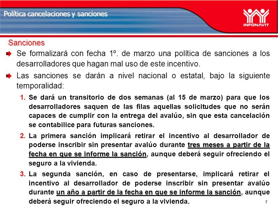 7 Política cancelaciones y sanciones Se formalizará con fecha 1º.