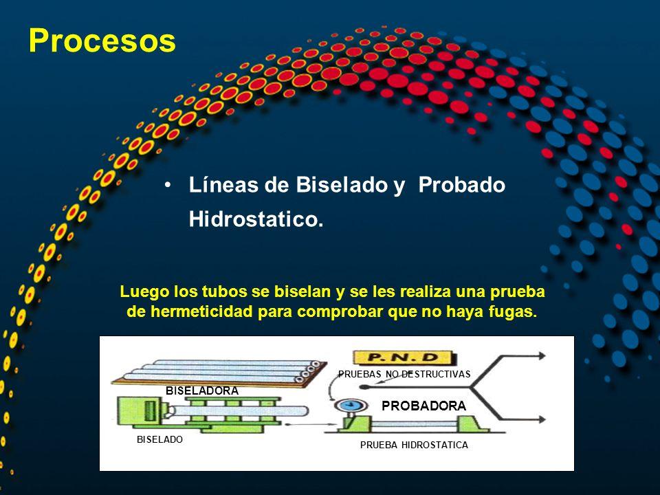Procesos Líneas de Biselado y Probado Hidrostatico. BISELADO PRUEBA HIDROSTATICA PRUEBAS NO DESTRUCTIVAS BISELADORA PROBADORA Luego los tubos se bisel
