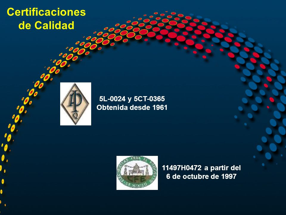 Certificaciones de Calidad 5L-0024 y 5CT-0365 Obtenida desde 1961 11497H0472 a partir del 6 de octubre de 1997