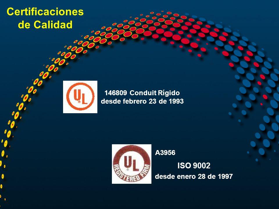 146809 Conduit Rígido desde febrero 23 de 1993 A3956 ISO 9002 desde enero 28 de 1997 Certificaciones de Calidad