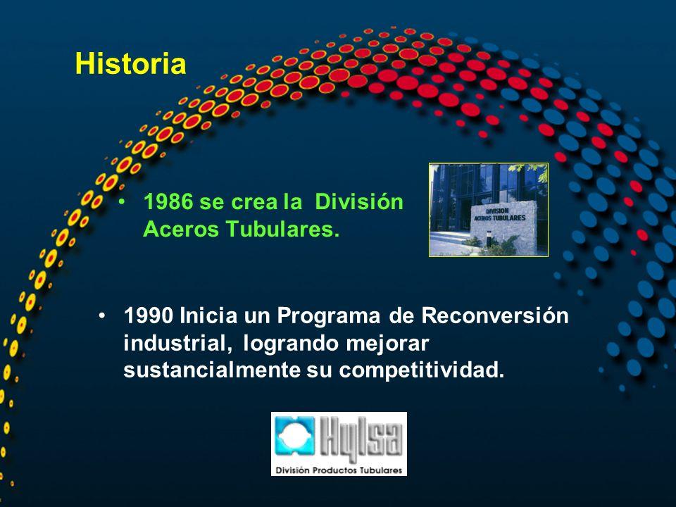 Historia 1986 se crea la División Aceros Tubulares. 1990 Inicia un Programa de Reconversión industrial, logrando mejorar sustancialmente su competitiv