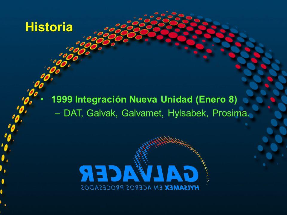 Historia 1999 Integración Nueva Unidad (Enero 8) –DAT, Galvak, Galvamet, Hylsabek, Prosima.