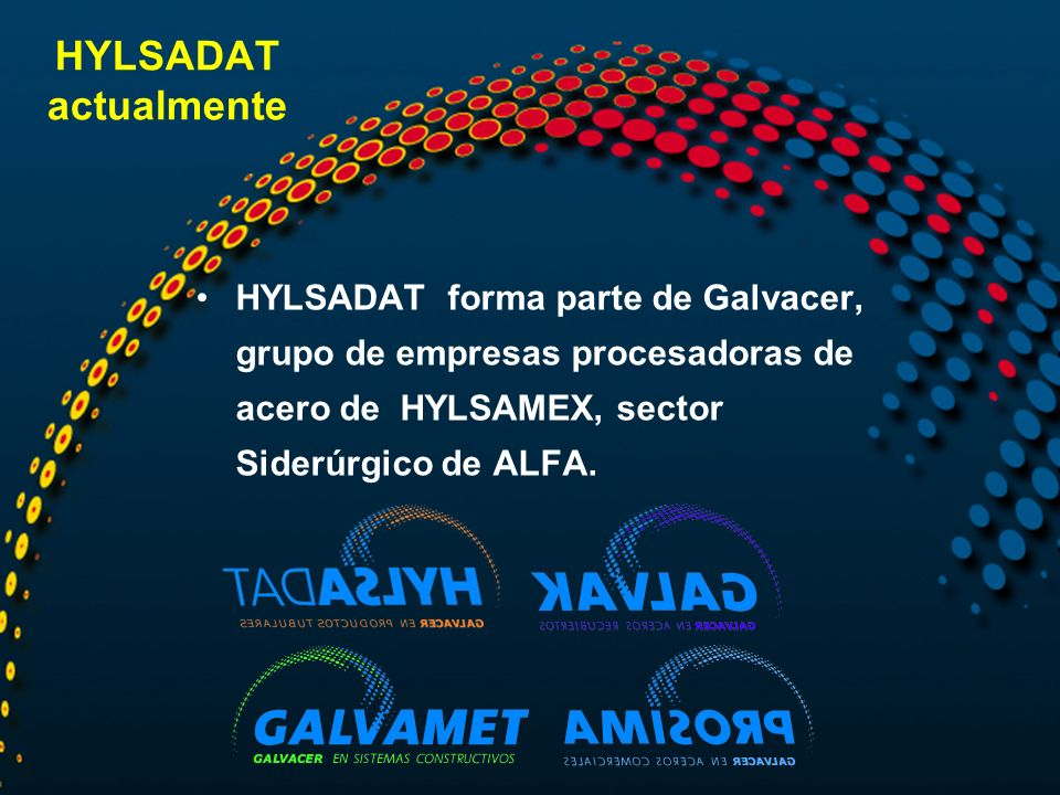 HYLSADAT actualmente HYLSADAT forma parte de Galvacer, grupo de empresas procesadoras de acero de HYLSAMEX, sector Siderúrgico de ALFA.