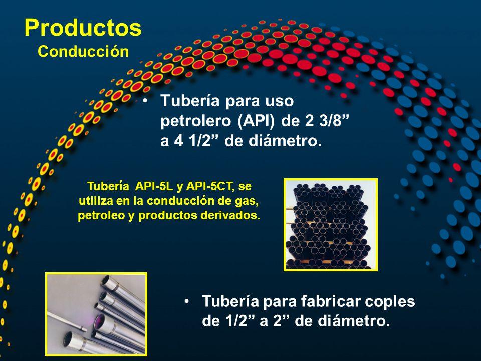 Tubería para uso petrolero (API) de 2 3/8 a 4 1/2 de diámetro. Tubería para fabricar coples de 1/2 a 2 de diámetro. Tubería API-5L y API-5CT, se utili