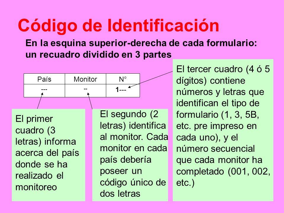 En la esquina superior-derecha de cada formulario: un recuadro dividido en 3 partes PaísMonitorN° --- -- 1--- El primer cuadro (3 letras) informa acer