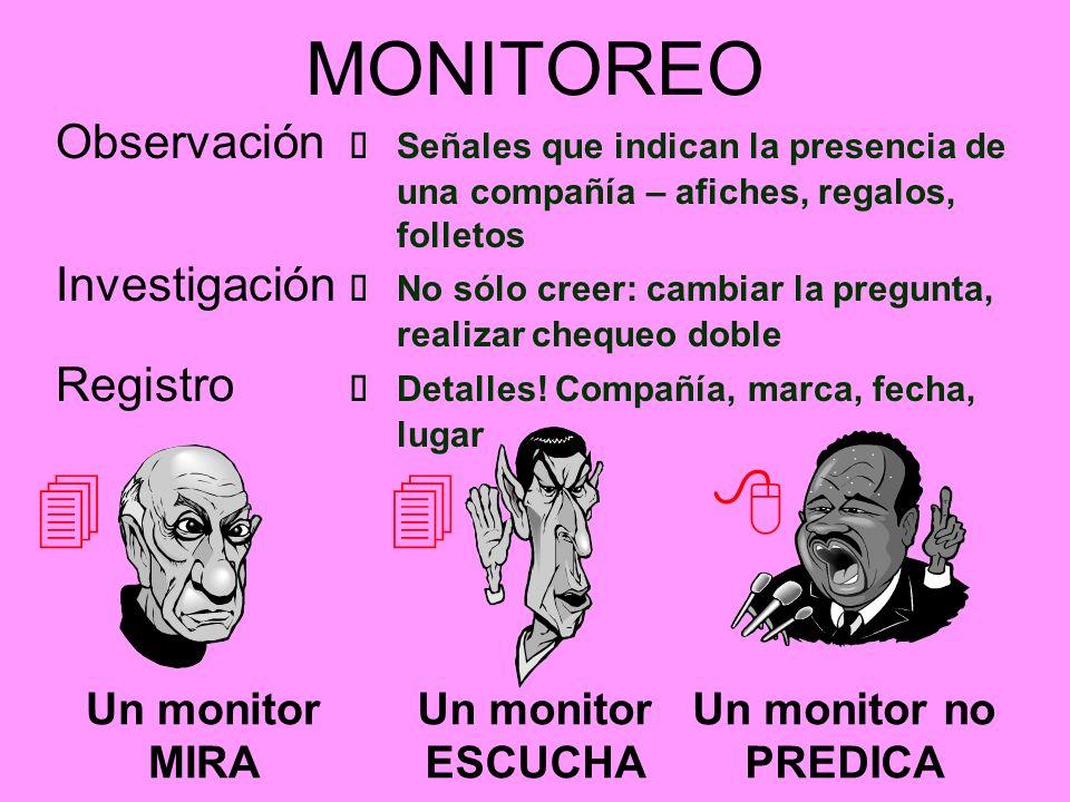 MONITOREO Un monitor MIRA Un monitor ESCUCHA Un monitor no PREDICA Observación Señales que indican la presencia de una compañía – afiches, regalos, fo