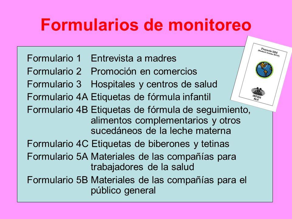 Formularios de monitoreo Formulario 1 Entrevista a madres Formulario 2 Promoción en comercios Formulario 3 Hospitales y centros de salud Formulario 4A