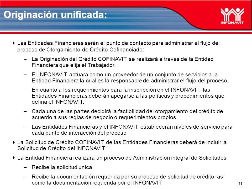 11 Las Entidades Financieras serán el punto de contacto para administrar el flujo del proceso de Otorgamiento de Crédito Cofinanciado: –La Originación del Crédito COFINAVIT se realizará a través de la Entidad Financiera que elija el Trabajador.