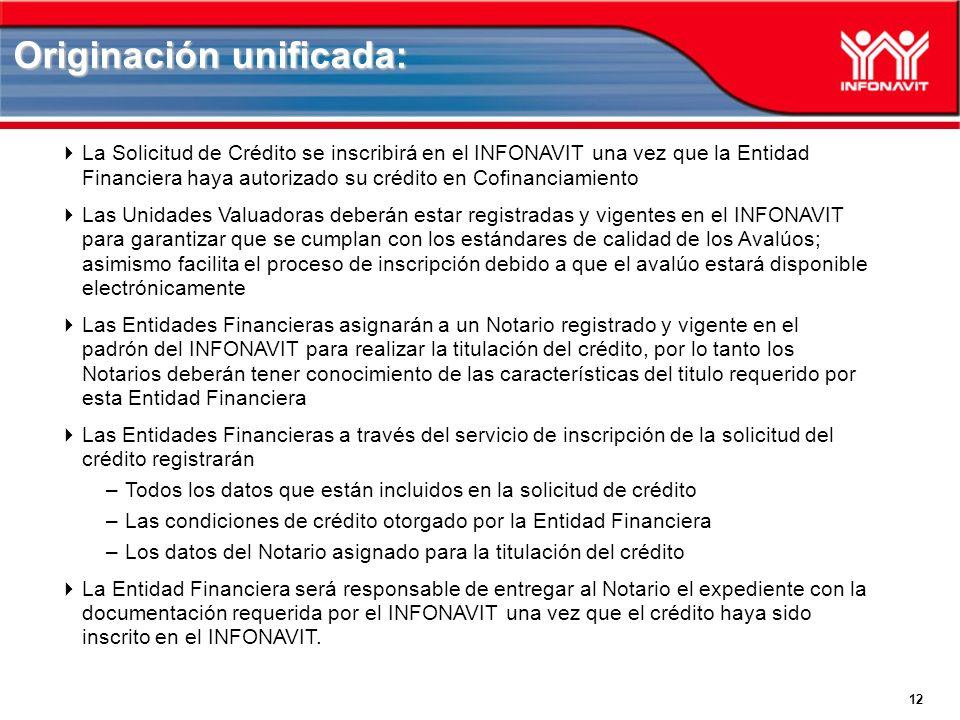 12 La Solicitud de Crédito se inscribirá en el INFONAVIT una vez que la Entidad Financiera haya autorizado su crédito en Cofinanciamiento Las Unidades