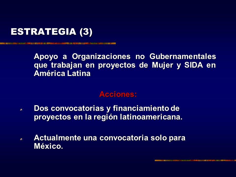 Apoyo a Organizaciones no Gubernamentales que trabajan en proyectos de Mujer y SIDA en América Latina Acciones: Dos convocatorias y financiamiento de