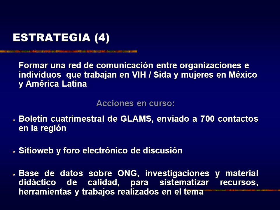Formar una red de comunicación entre organizaciones e individuos que trabajan en VIH / Sida y mujeres en México y América Latina Acciones en curso: Bo