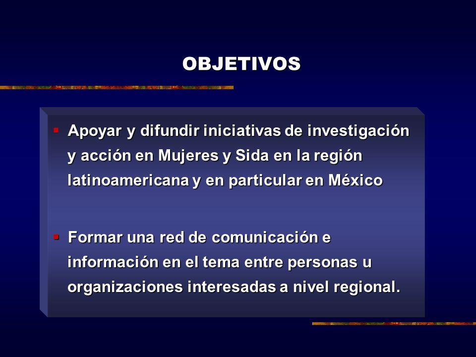 OBJETIVOS Apoyar y difundir iniciativas de investigación y acción en Mujeres y Sida en la región latinoamericana y en particular en México Formar una