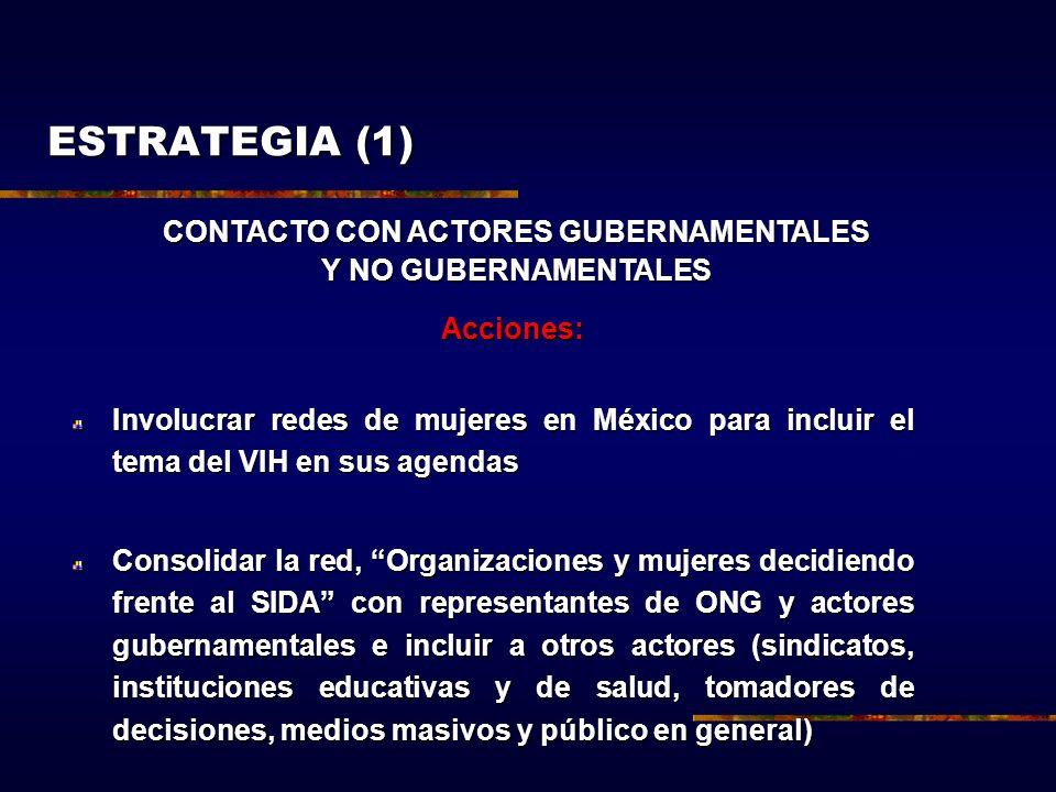 ESTRATEGIA (1) Acciones: Involucrar redes de mujeres en México para incluir el tema del VIH en sus agendas Consolidar la red, Organizaciones y mujeres