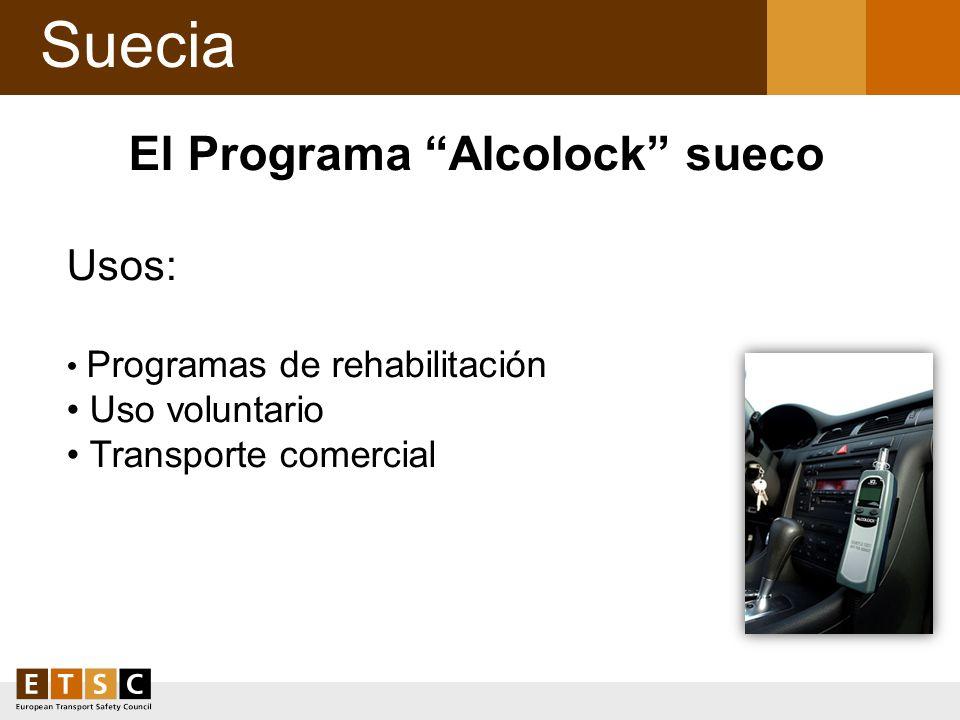 Suecia El Programa Alcolock sueco Usos: Programas de rehabilitación Uso voluntario Transporte comercial
