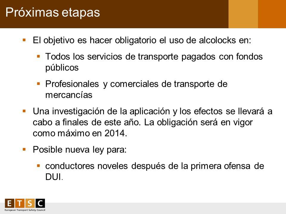 Próximas etapas El objetivo es hacer obligatorio el uso de alcolocks en: Todos los servicios de transporte pagados con fondos públicos Profesionales y
