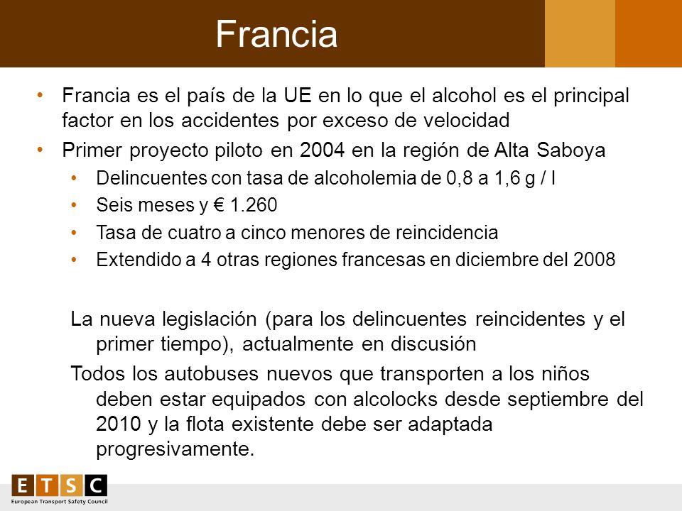 Francia Francia es el país de la UE en lo que el alcohol es el principal factor en los accidentes por exceso de velocidad Primer proyecto piloto en 20