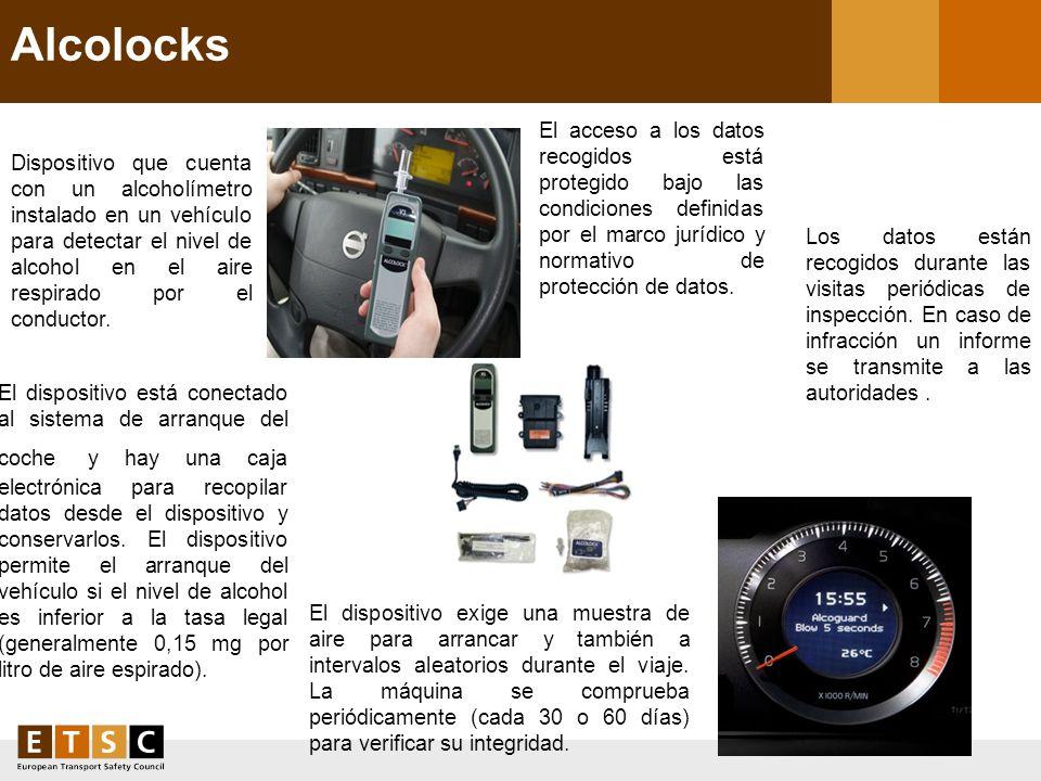 Alcolocks Dispositivo que cuenta con un alcoholímetro instalado en un vehículo para detectar el nivel de alcohol en el aire respirado por el conductor