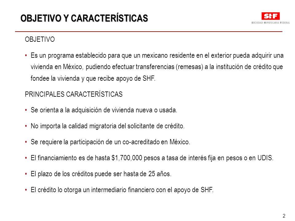 2 OBJETIVO Es un programa establecido para que un mexicano residente en el exterior pueda adquirir una vivienda en México, pudiendo efectuar transferencias (remesas) a la institución de crédito que fondee la vivienda y que recibe apoyo de SHF.