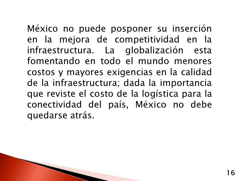 México no puede posponer su inserción en la mejora de competitividad en la infraestructura. La globalización esta fomentando en todo el mundo menores
