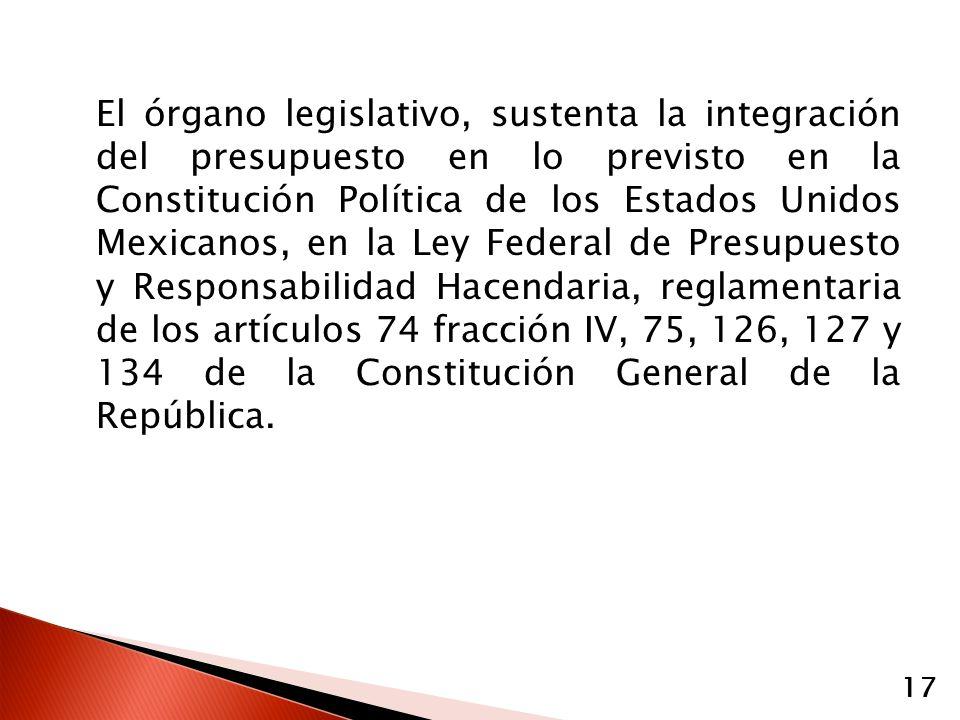 El órgano legislativo, sustenta la integración del presupuesto en lo previsto en la Constitución Política de los Estados Unidos Mexicanos, en la Ley Federal de Presupuesto y Responsabilidad Hacendaria, reglamentaria de los artículos 74 fracción IV, 75, 126, 127 y 134 de la Constitución General de la República.