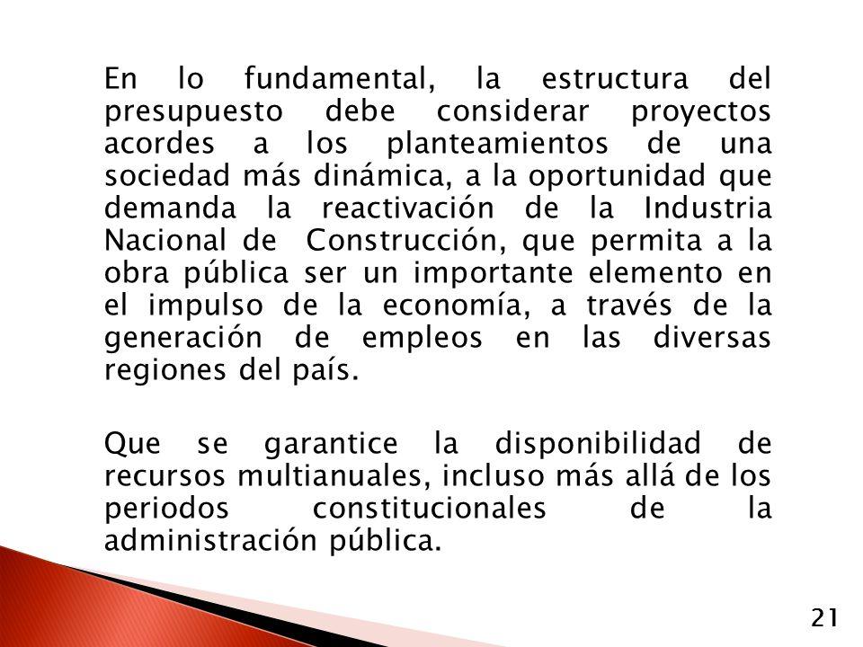 En lo fundamental, la estructura del presupuesto debe considerar proyectos acordes a los planteamientos de una sociedad más dinámica, a la oportunidad que demanda la reactivación de la Industria Nacional de Construcción, que permita a la obra pública ser un importante elemento en el impulso de la economía, a través de la generación de empleos en las diversas regiones del país.