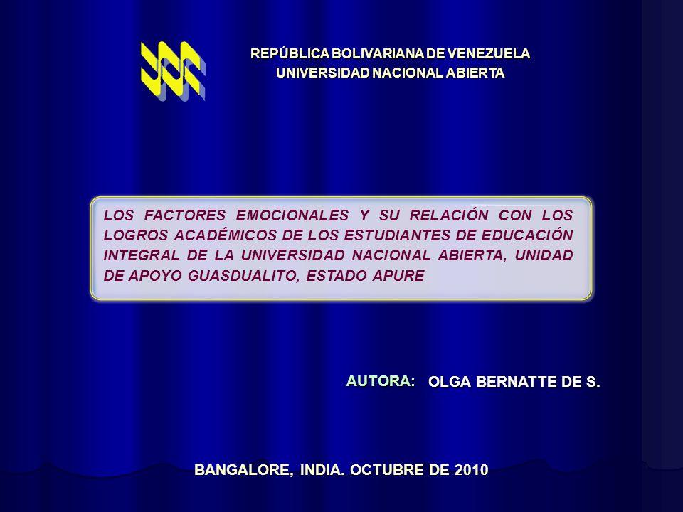 LOS FACTORES EMOCIONALES Y SU RELACIÓN CON LOS LOGROS ACADÉMICOS DE LOS ESTUDIANTES DE EDUCACIÓN INTEGRAL DE LA UNIVERSIDAD NACIONAL ABIERTA, UNIDAD D