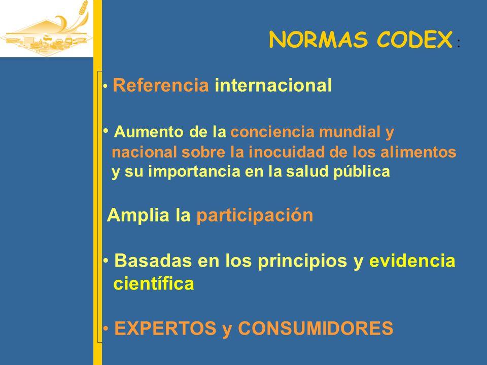 LAS NORMAS CODEX Referencia mundial para : CONSUMIDORES LA SALUD PUBLICA ELABORADORES DE ALIMENTOS EL COMERCIO LOS TOMADORES DE DECISION LOS FORMADORES DE DECISION