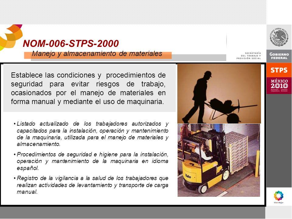 NOM-006-STPS-2000 Manejo y almacenamiento de materiales Establece las condiciones y procedimientos de seguridad para evitar riesgos de trabajo, ocasio