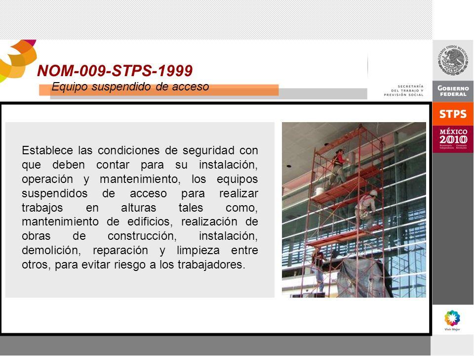NOM-009-STPS-1999 Equipo suspendido de acceso Establece las condiciones de seguridad con que deben contar para su instalación, operación y mantenimien