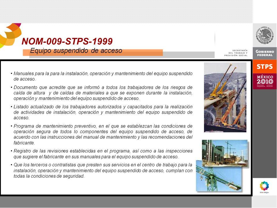 NOM-009-STPS-1999 Manuales para la para la instalación, operación y mantenimiento del equipo suspendido de acceso. Documento que acredite que se infor
