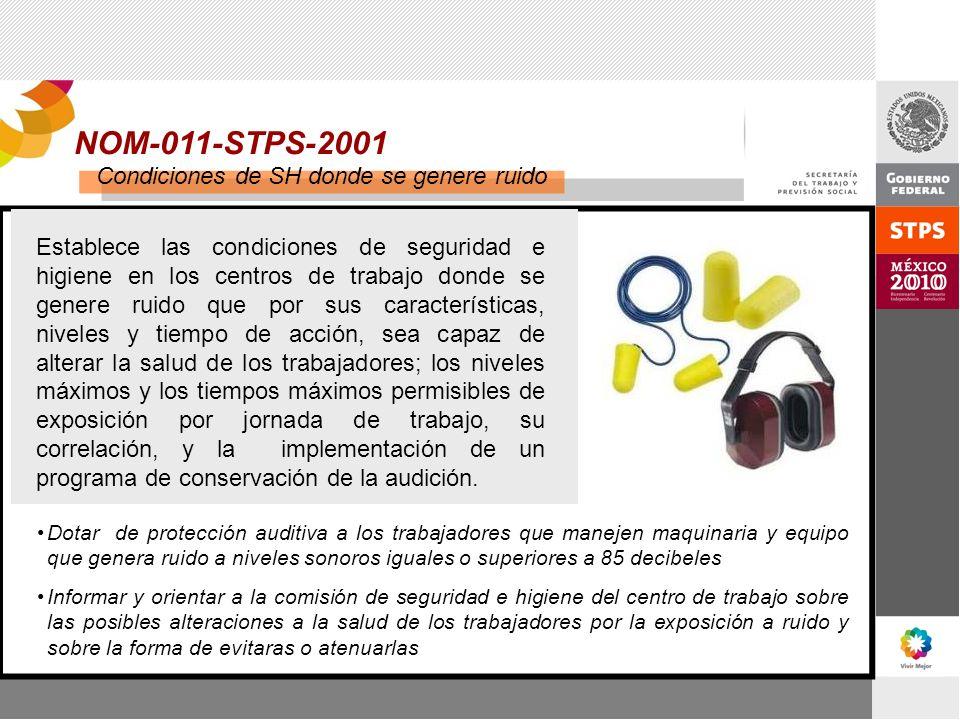 NOM-011-STPS-2001 Condiciones de SH donde se genere ruido Establece las condiciones de seguridad e higiene en los centros de trabajo donde se genere r
